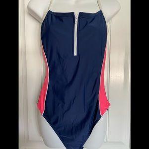 Athletech 1 Pc Swimsuit Zip up front size 16